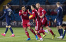Aberdeen's Connor McLennan (centre) celebrates making it 2-2 at Kilmarnock