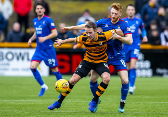 Alloa's Alan Trouten and David Carson in action during the Ladbrokes Championship match between Alloa and Inverness CT.