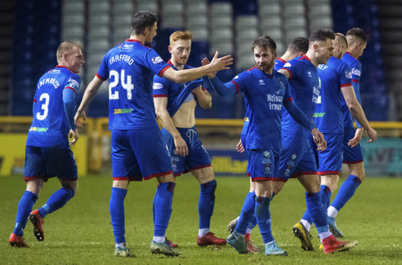 James Keatings celebrates after making it 2-0 to Inverness.