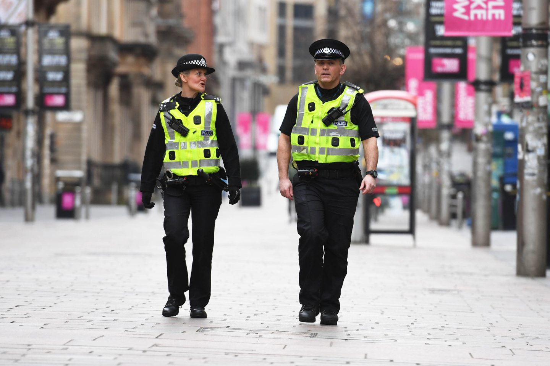 Police patrol the streets of Glasgow during the coronavirus lockdown.