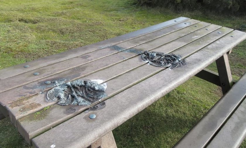 A picnic bench at Balmedie Beach was melted after disposable barbecues were placed on top of it.
