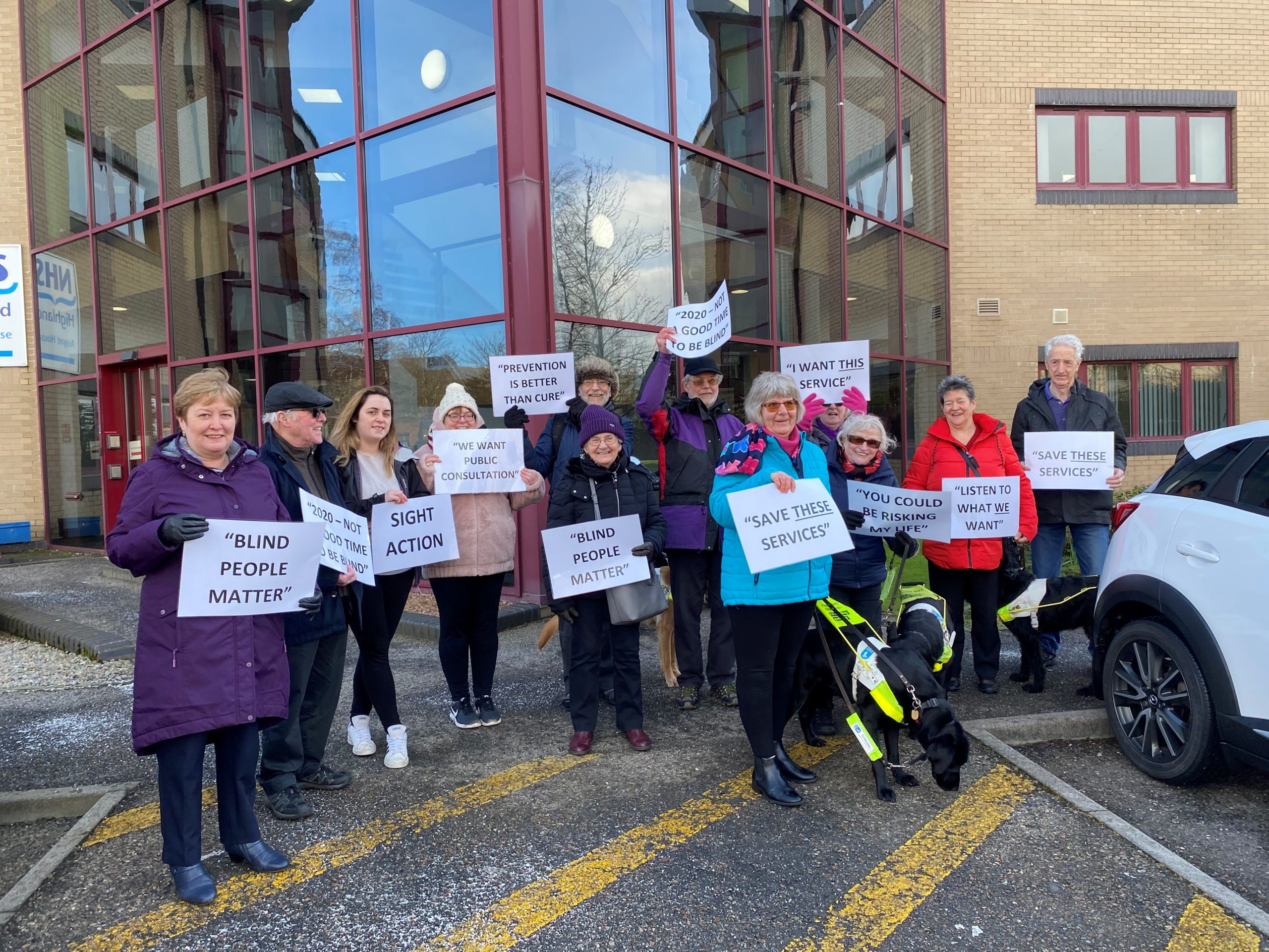 Highlands and Islands MSP Rhoda Grant joined the campaigners outside Assynt House last week