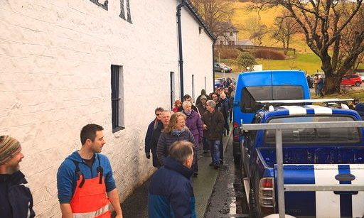 Locals gathered to propose the proposed cafe at Talisker Distillery yesterday.