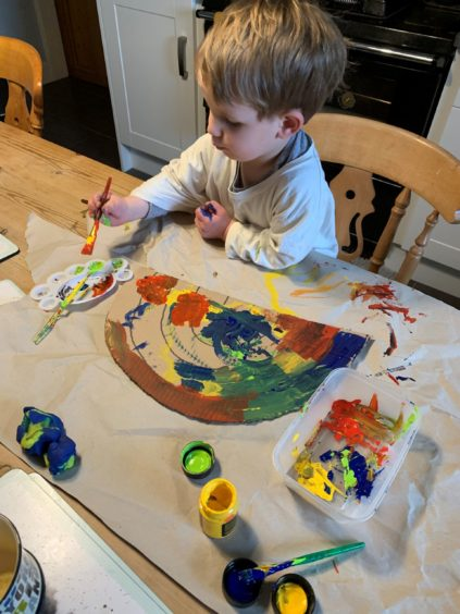 The artist: William Startin, age 2, from Tarves