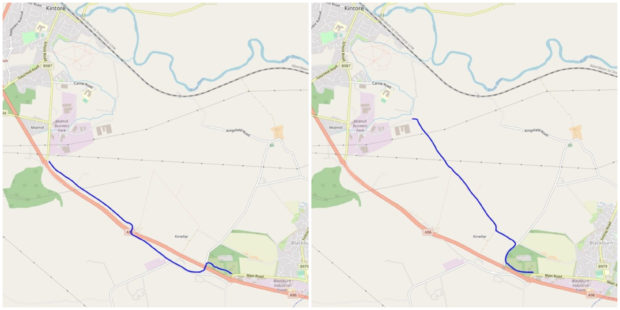 The proposed route options