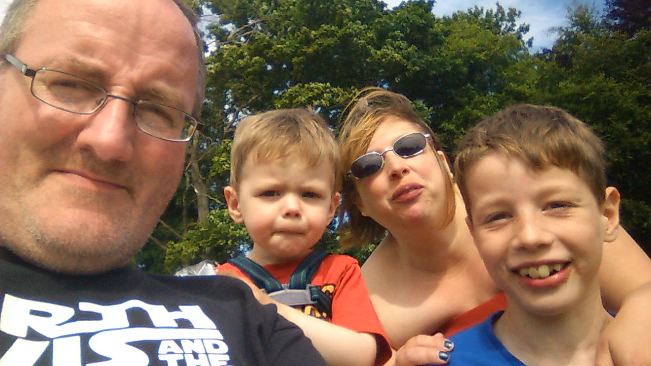 Alex mackie, right, with mum Lynsey, brother Jack and dad Colin