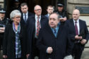 Alex Salmond speaks to the media as he leaves the High Court in Edinburgh after he was cleared.