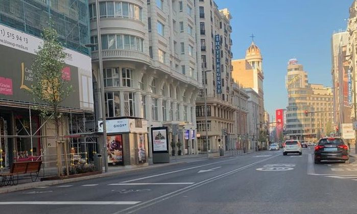 The usually packed Gran Via in Madrid is almost deserted.