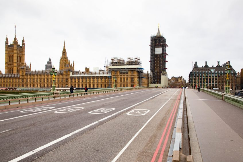 A near empty Westminster Bridge on Wednesday morning.