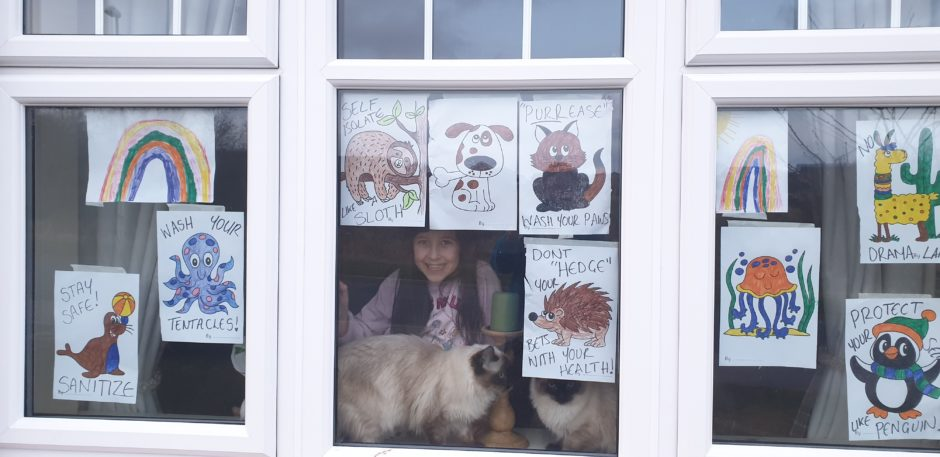 This wonderful window art was created by seven year old Elizabeth Ann King from Peterhead