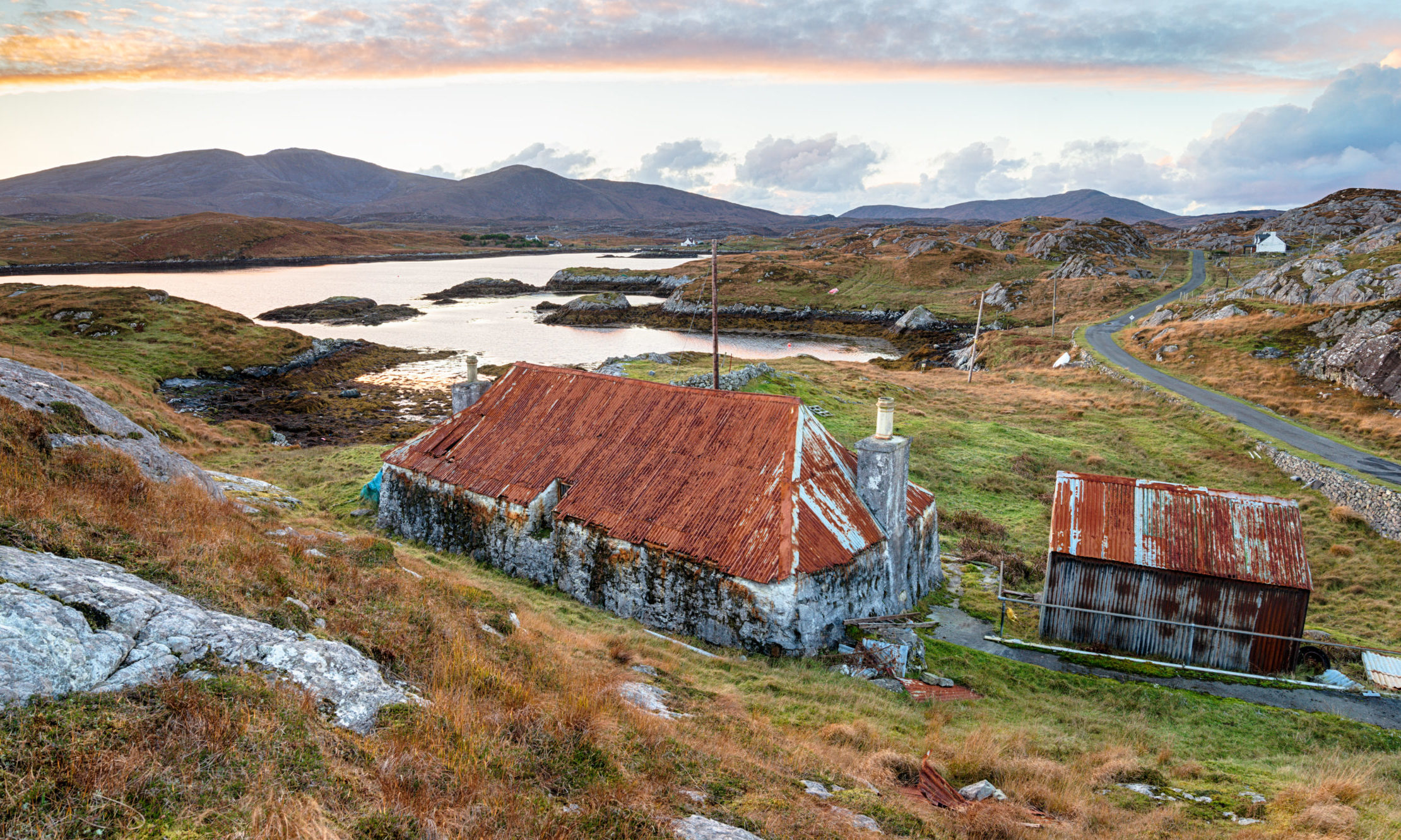 A beautiful old croft at Quidnish on the Isle of Harris in Scotland;