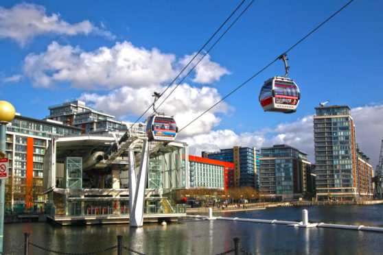 London's Cable car connecting Excel exhibition centre and O2 arena.