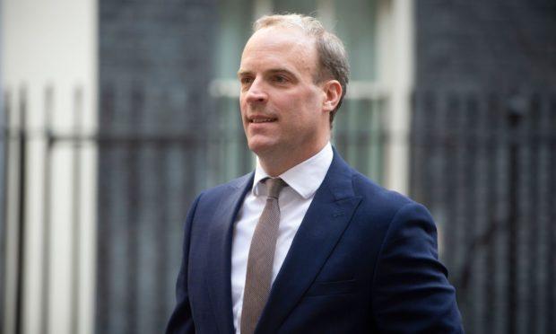 Foreign Secretary Dominic Raab leaving 10 Downing Street.