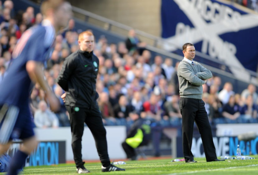 Celtic manager Neil Lennon and Ross County manager Derek Adams.