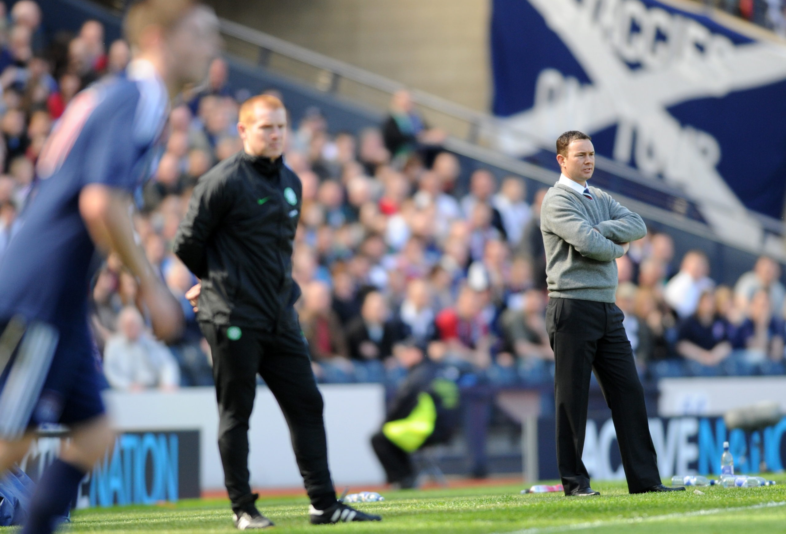Celtic manager Neil Lennon and Ross County manager Derek Adams.