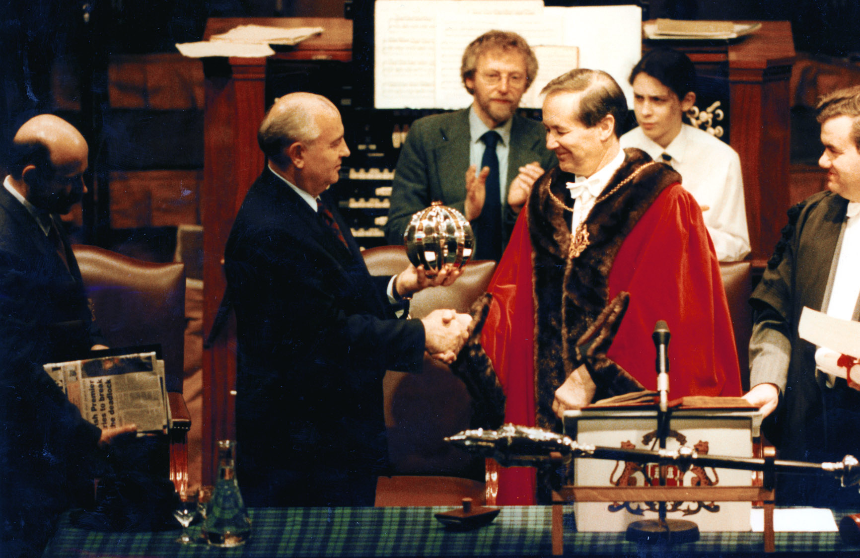 Former Soviet leader Mikhail Gorbachev became a Freeman of Aberdeen when Lord Provost Jim Wyness presented him with the award at a conferral ceremony in the Music Hall on December 6 1993.