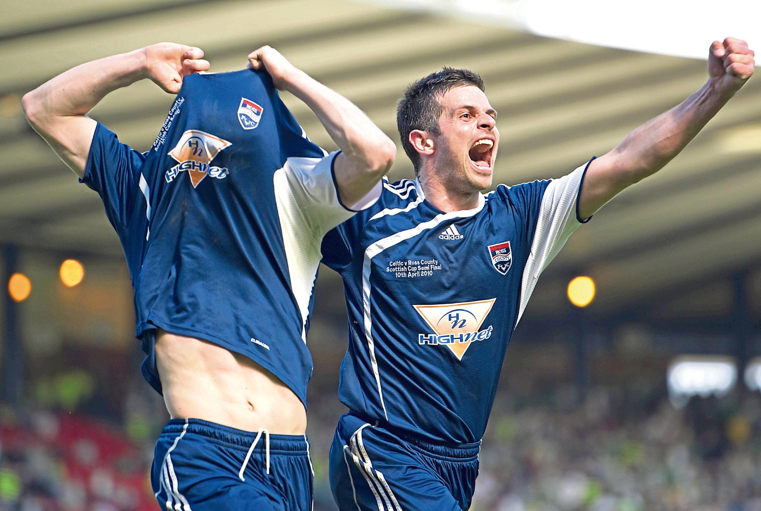 Ross County star Martin Scott (left) celebrates with fellow goalscorer Steven Craig after making it 2-0.