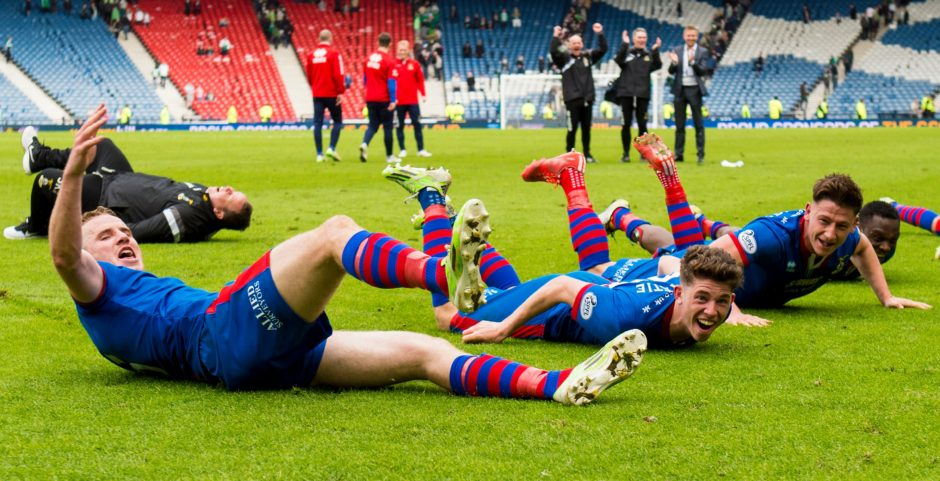 Inverness CT trio Marley Watkins (left), Ryan Christie (centre) and Josh Meekings celebrate at full-time.