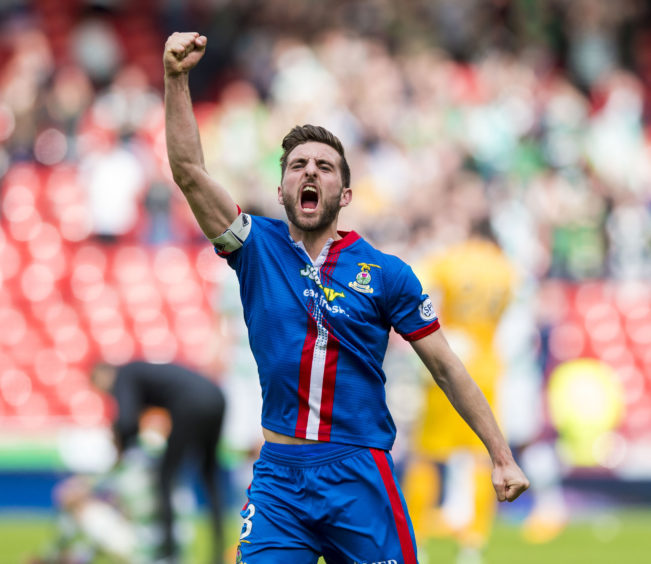 Inverness captain Graeme Shinnie celebrates at full-time