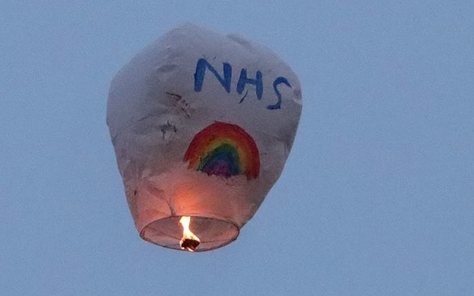 The NHS tribute was seen near Hopeman on the Moray Firth coast.