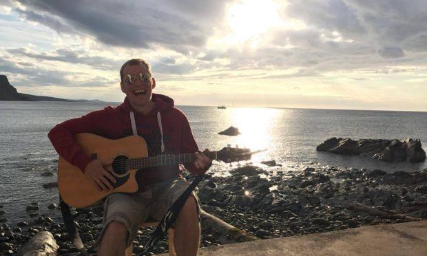 Alan Reid has been performing from his garage in Fraserburgh