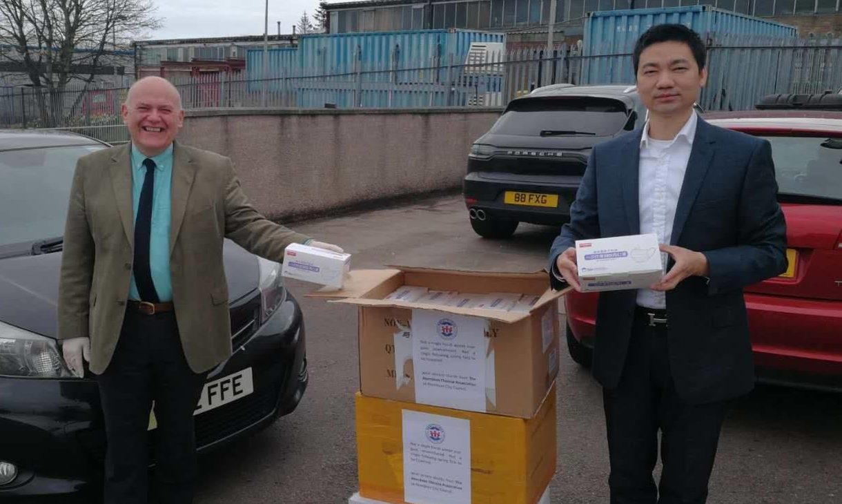 Lord Provost Barney Crockett with Wengang Lui, president of the UK Aberdeen Chinese Association.