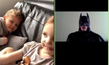Allanah and Kieran video calling Batman