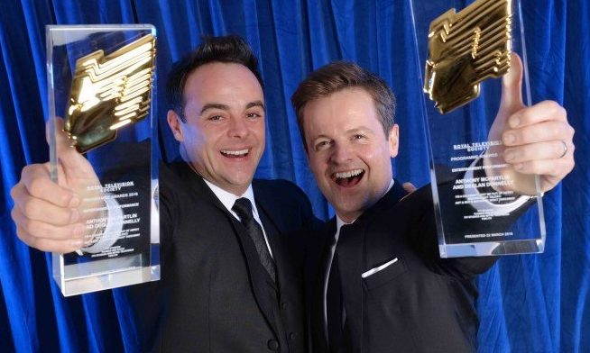 Ant and Dec show off their Royal Television Society Awards made by the Argyll firm which is now producing Personal Protection Equipment for frontline workers.