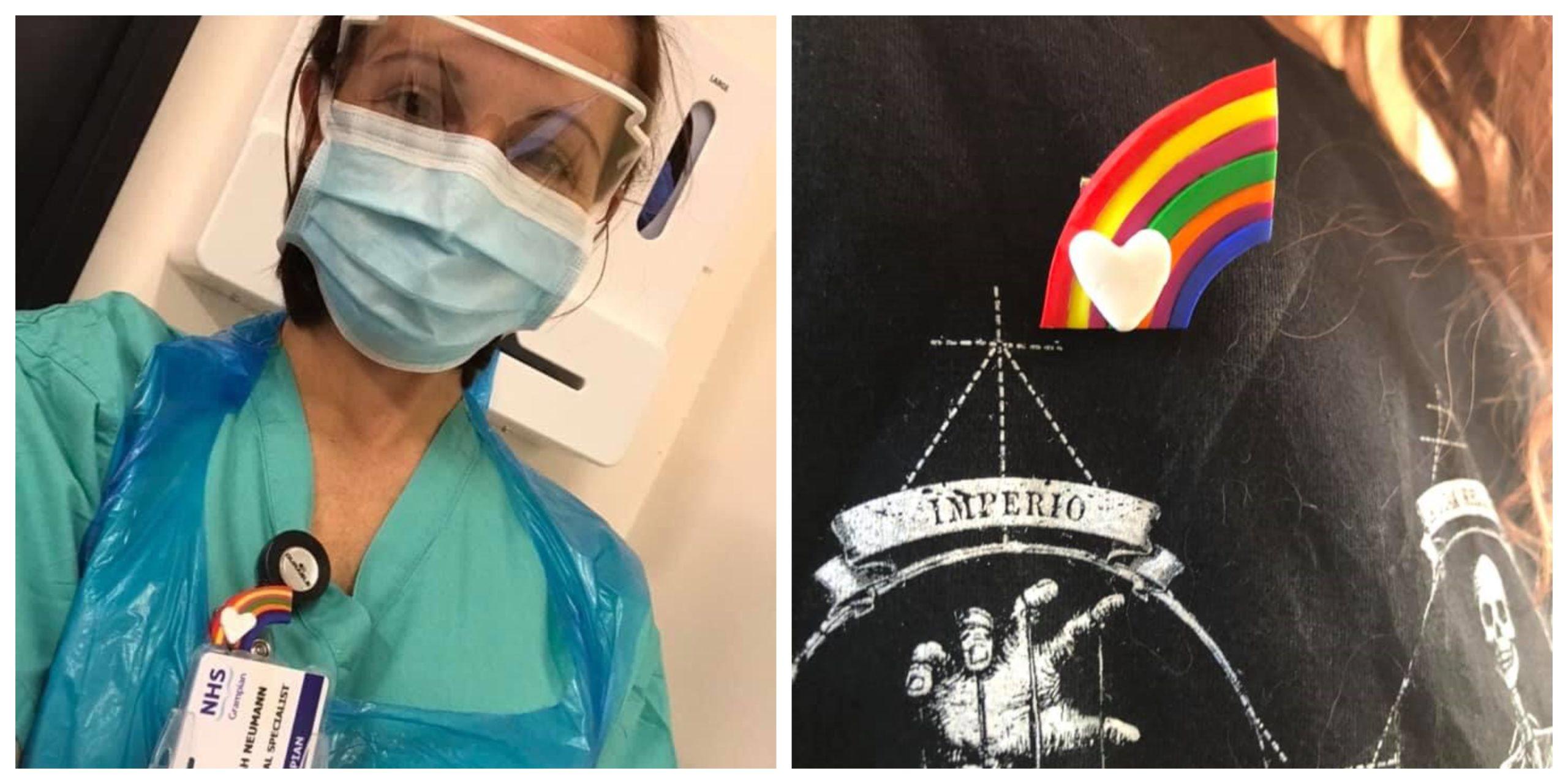 An ARI nurse sports one of the rainbow badges.