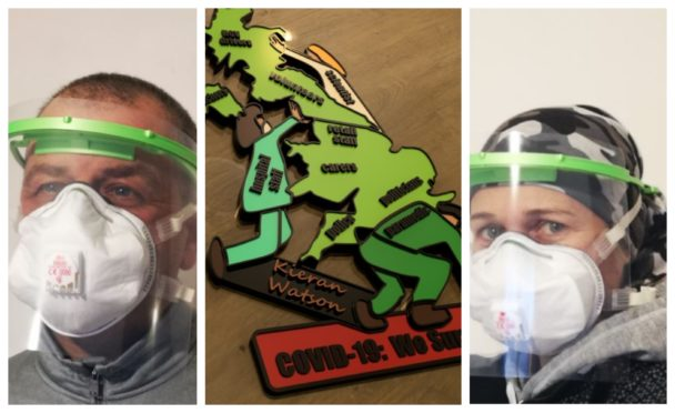 William Donald and Lyn Stewart are producing PPE and Covid-19 fridge magnets.