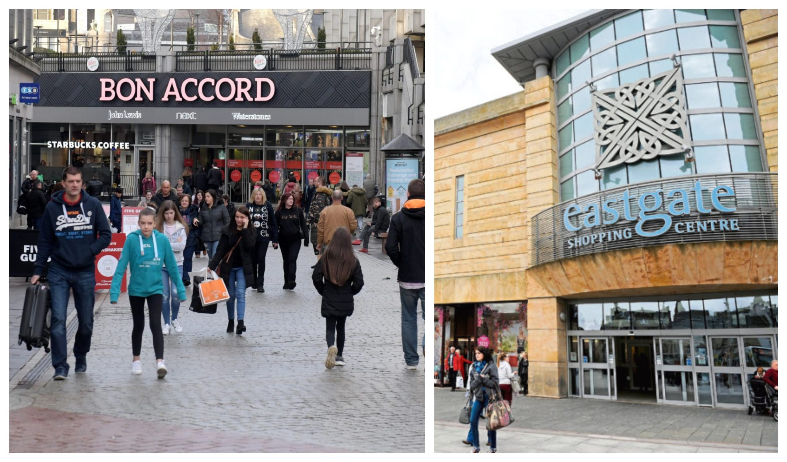 Bon Accord Centre in Aberdeen (L) and the Eastgate Shopping Centre in Inverness (R).