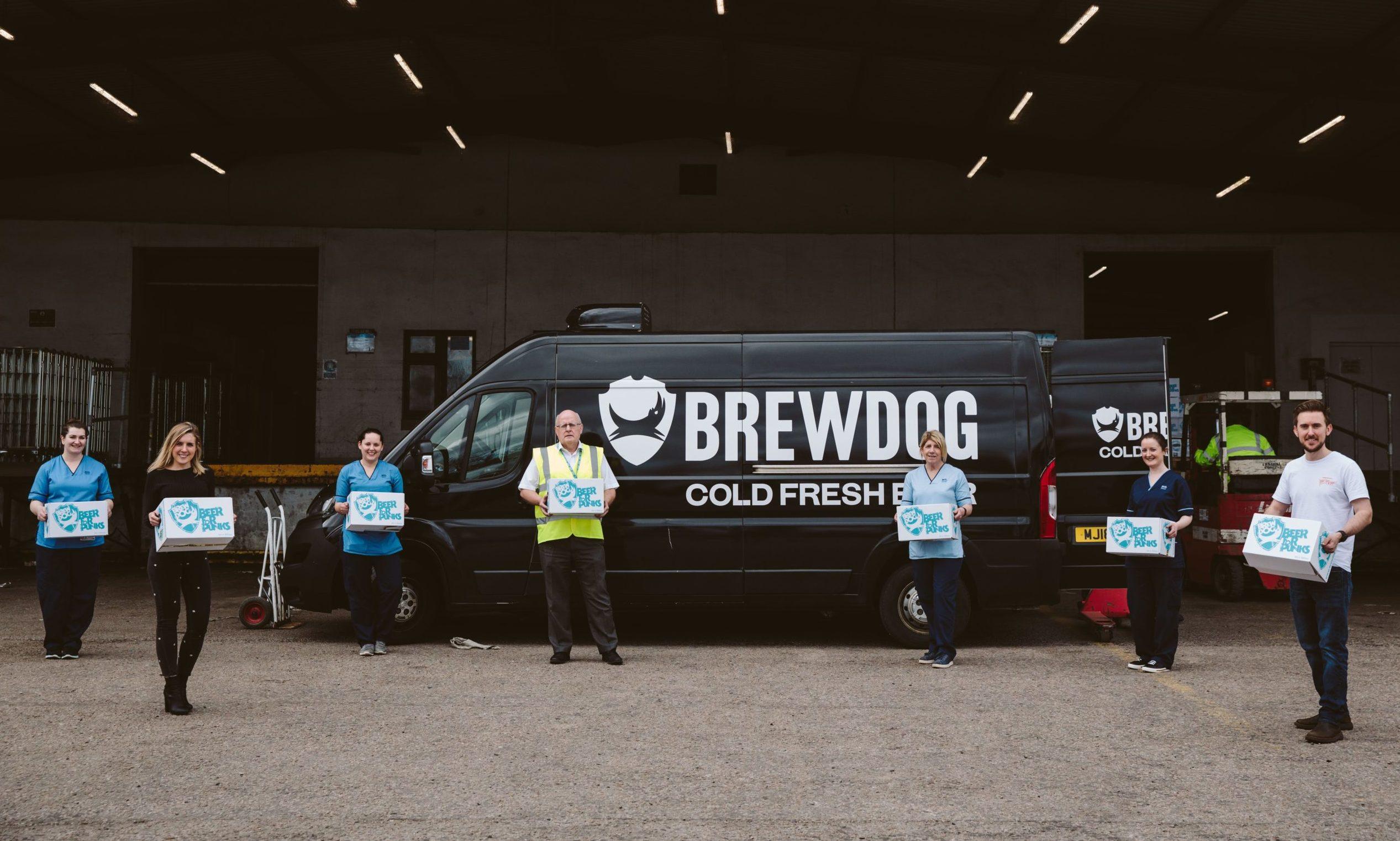 NHS staff receive a delivery of Brewdog's sanitiser