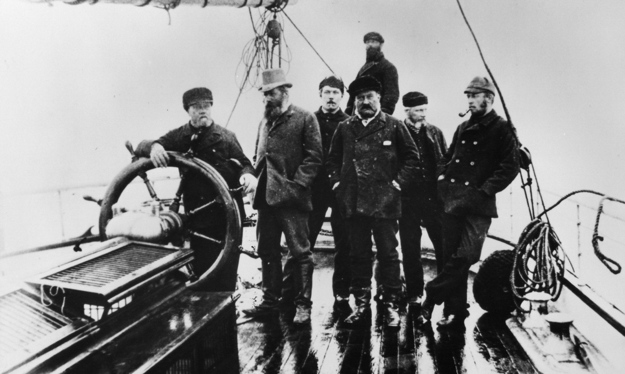 A young Arthur Conan Doyle stands next to Peterhead captain John Gray.
