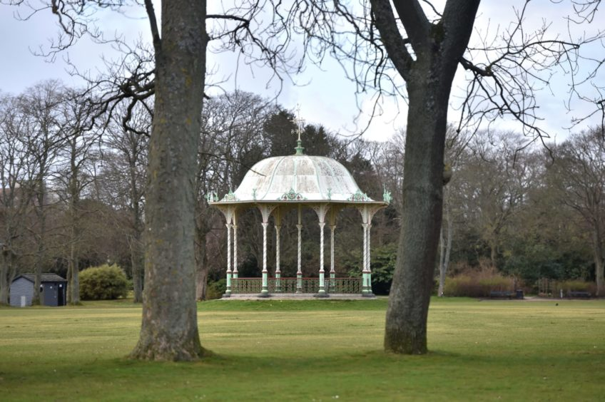 An empty band stand at the Duthie Park.