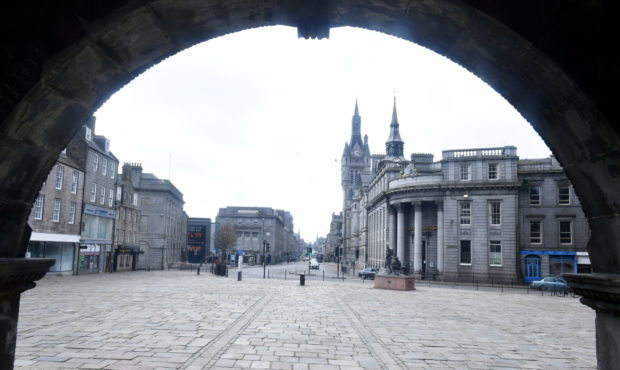 Aberdeen's Castlegate/Union Street during lockdown.