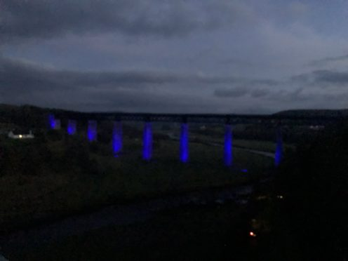 Findhorn viaduct lit up blue