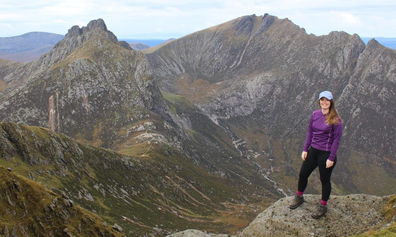 Grace O'Keeffe at the summit of Goatfell on the Isle of Arran.