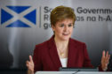 First Minister Nicola Sturgeon speaking at a coronavirus briefing at St Andrews House in Edinburgh.