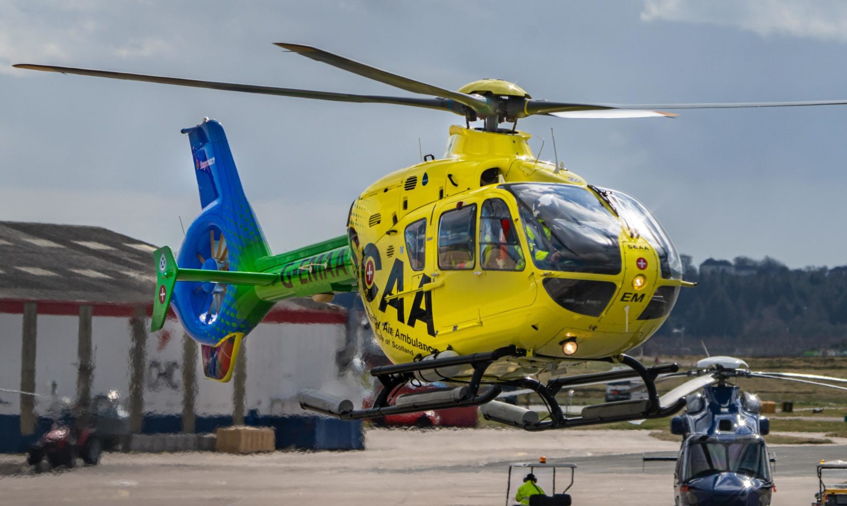 Helimed 79 at Aberdeen Airport on Friday 03 April 2020