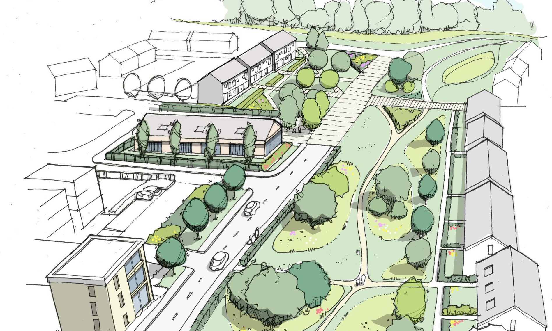 Artist impression showing plans for new homes in Bridge of Don.