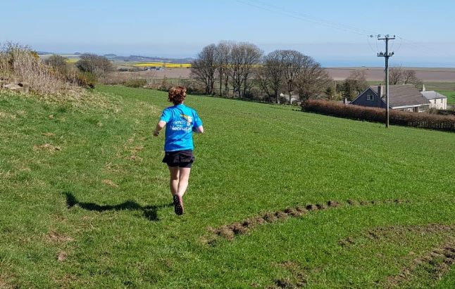 Kate Robertson completing her latest marathon.