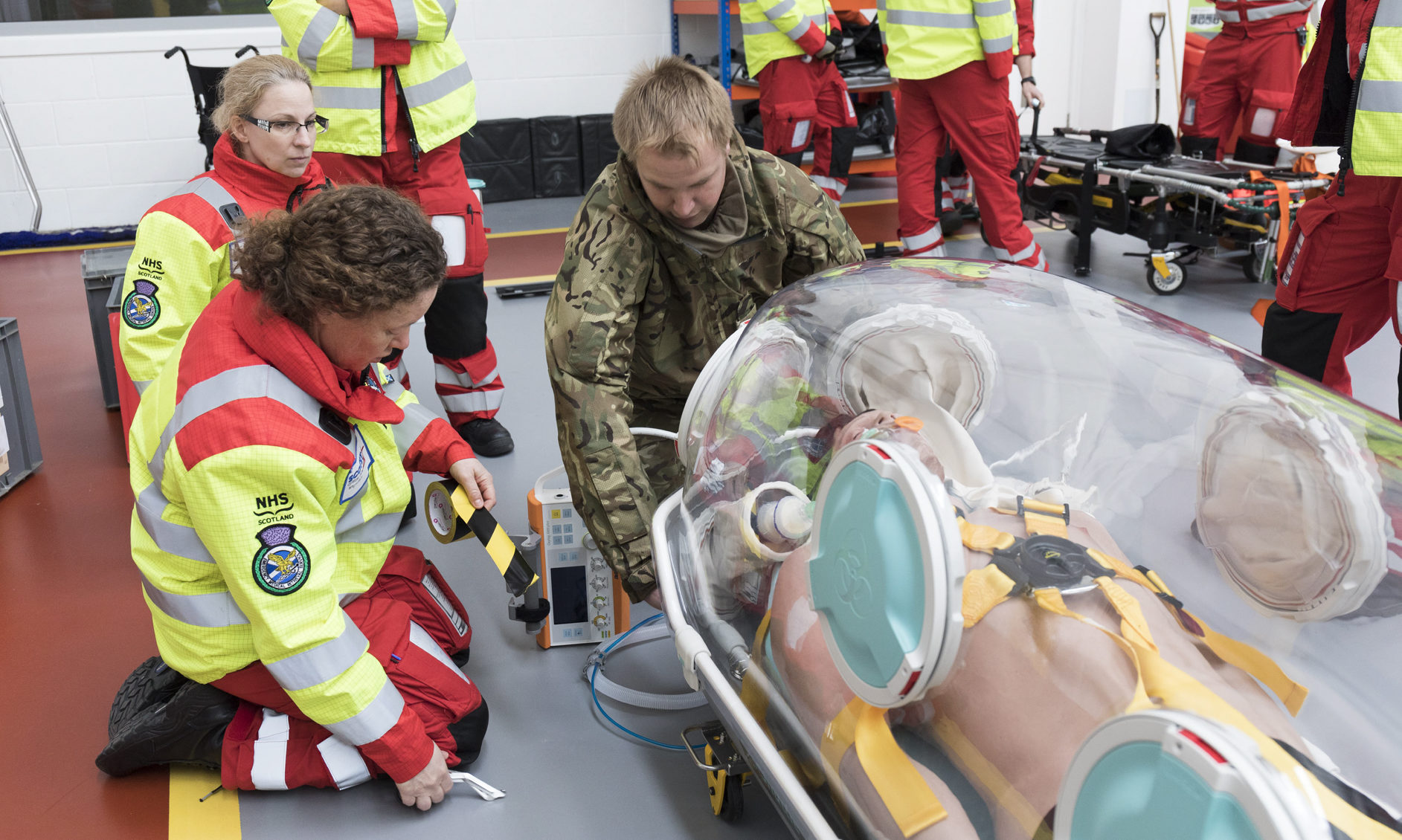 The Puma Force detachment currently deployed at Kinloss Barracks took part in training using adult-sized incubators with the Scottish Ambulance Service.
