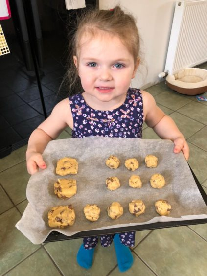 Starting young is three-year-old Layla Hendry, from Fintry, Turriff, who had fun baking with her mum, Gail Hendry