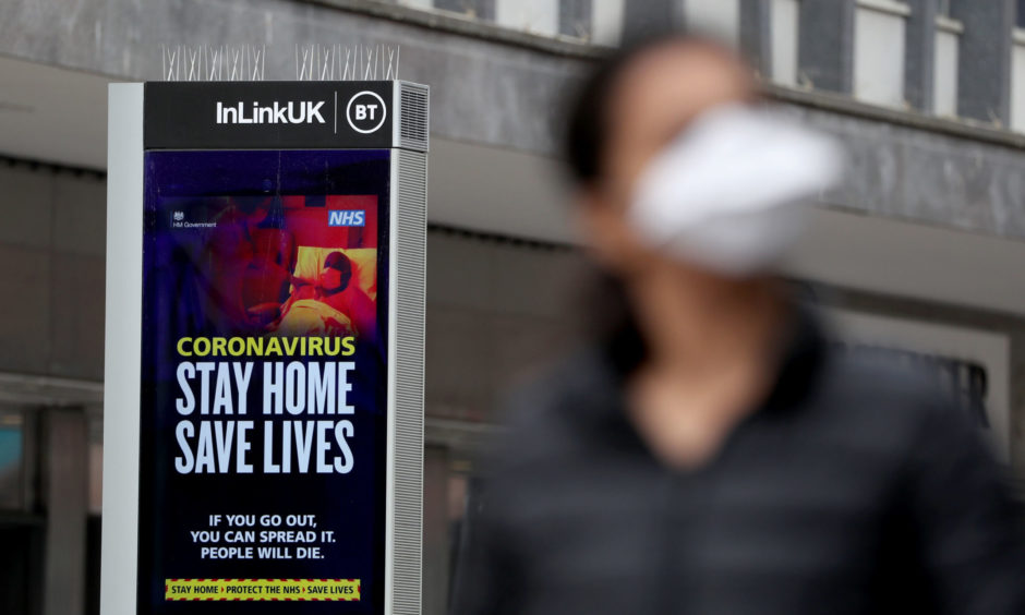 An NHS coronavirus sign in Glasgow as the UK continues in lockdown to help curb the spread of the coronavirus.
