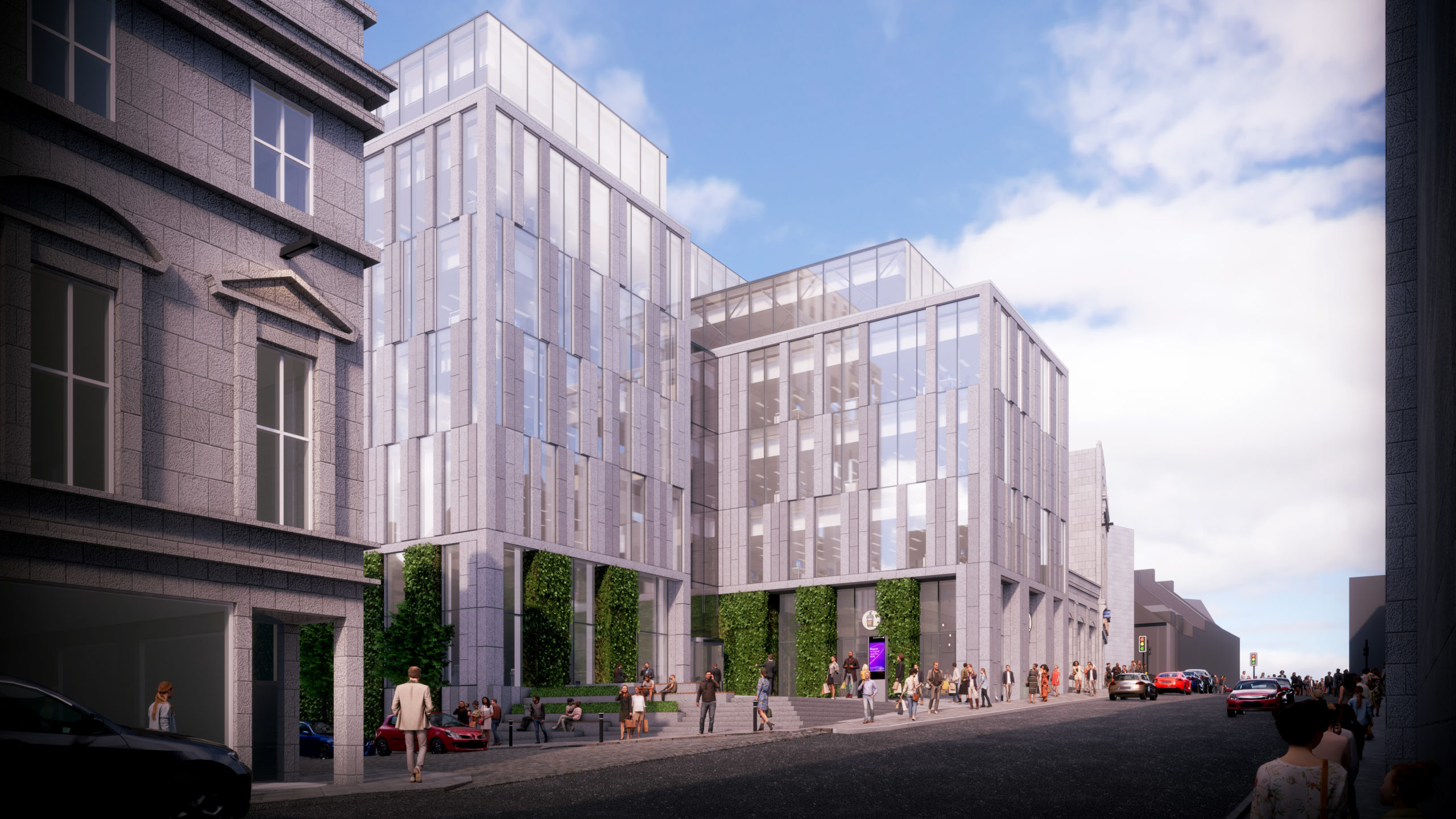 An artist's impression of the building, viewed from Market Street, which is planned for the Aberdeen Market site.