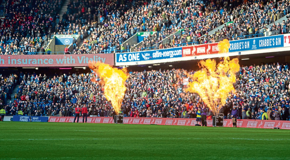 The scene at Murrayfield before Scotland played France on March 8. The UK went into lockdown on March 23.