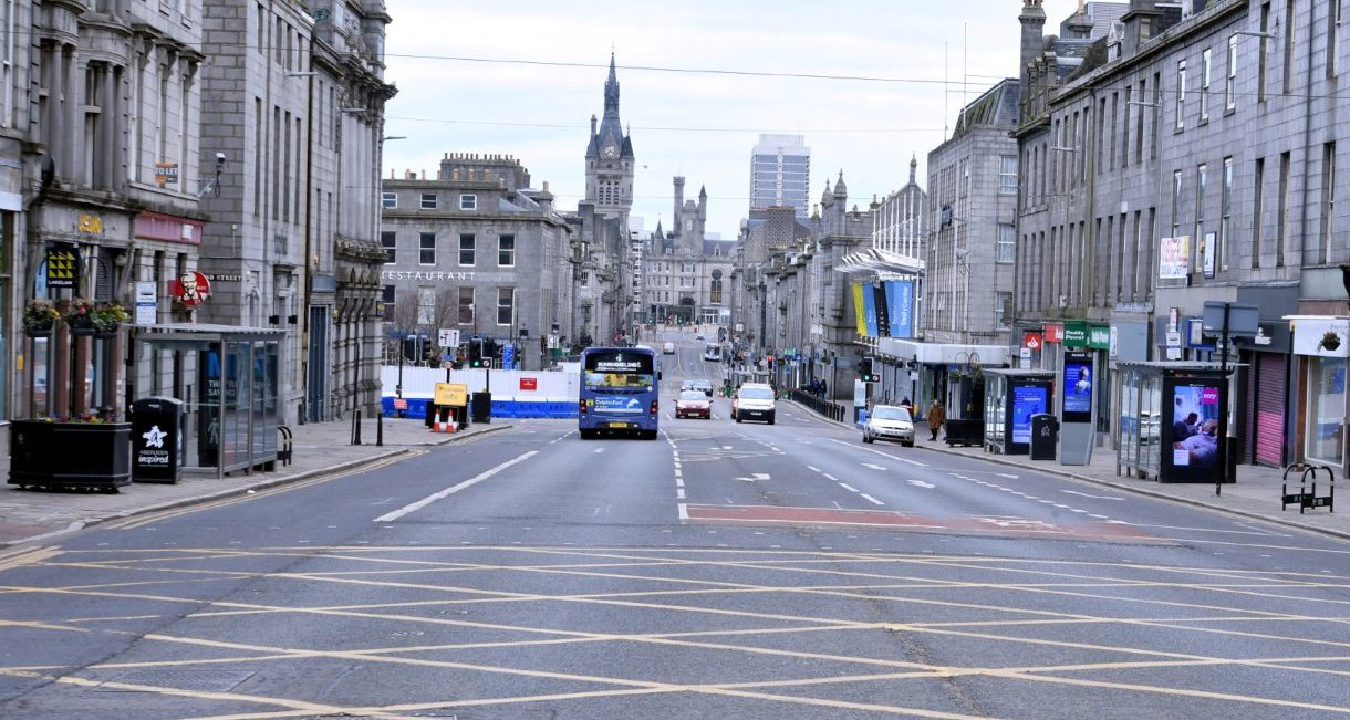 A weekday afternoon on Aberdeen's Union Street during lockdown. Picture by Chris Sumner
