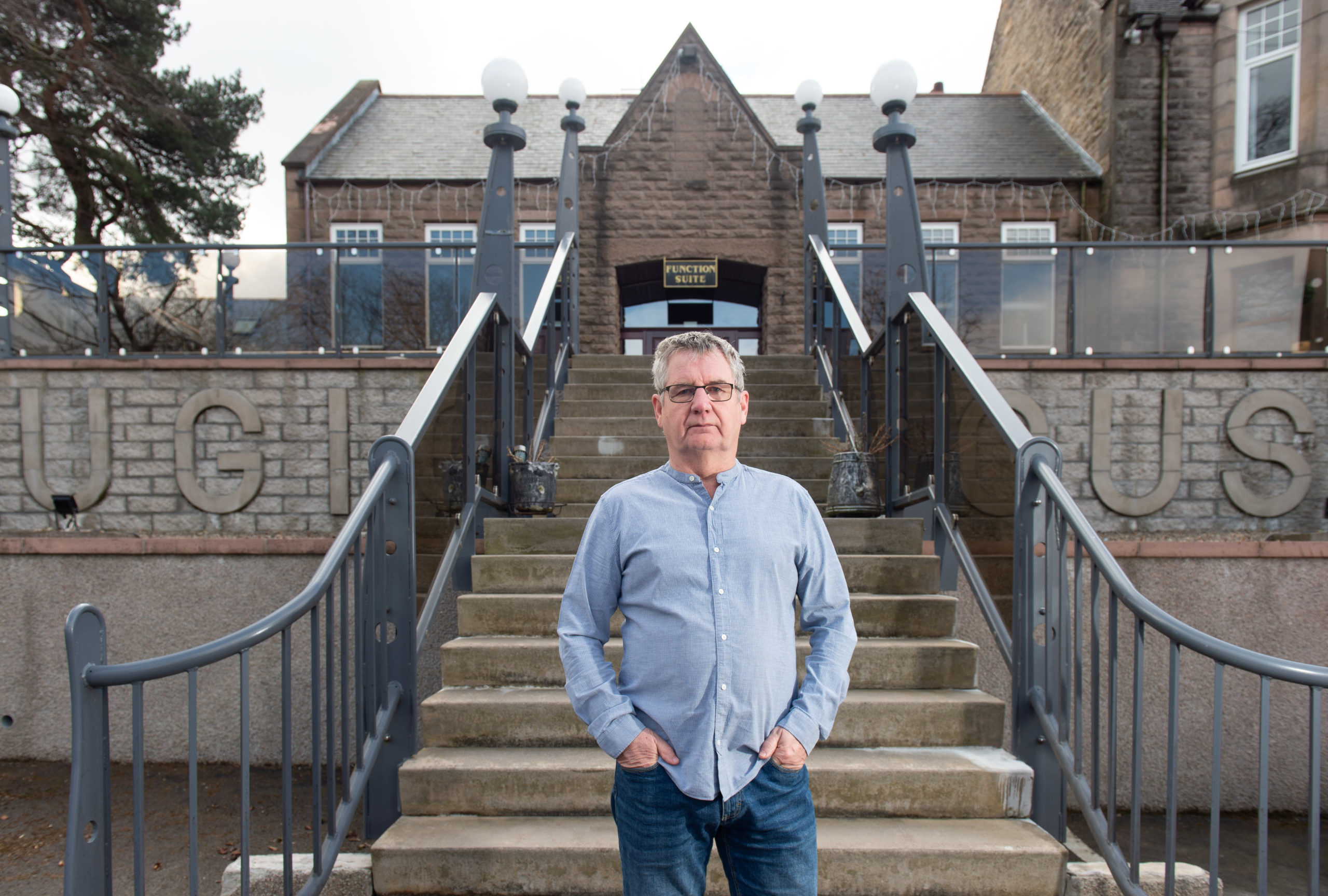 Hotel owner Robbie Martin in front of his hotel, Ugie House Hotel. Picture by Jason Hedges