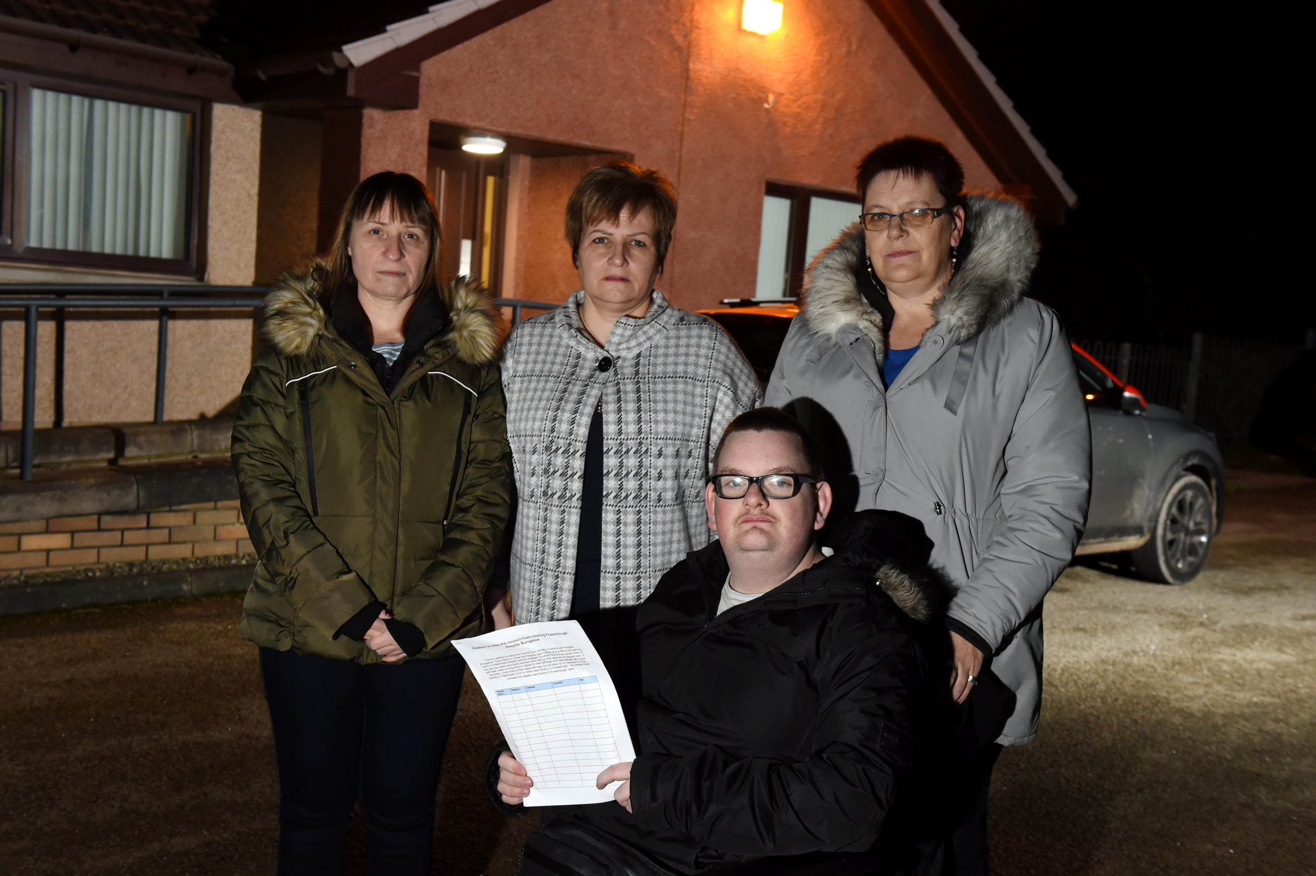 CR0018377 Donna Morrison has criticised Aberdeenshire council closing a respite centre in Fraserburgh and users will be sent to Peterhead,. Picture of (L-R) Zoe Kewley, Donna Morrison, Linda McCalman and son Mark McBeath.  Picture by KENNY ELRICK     17/01/2020