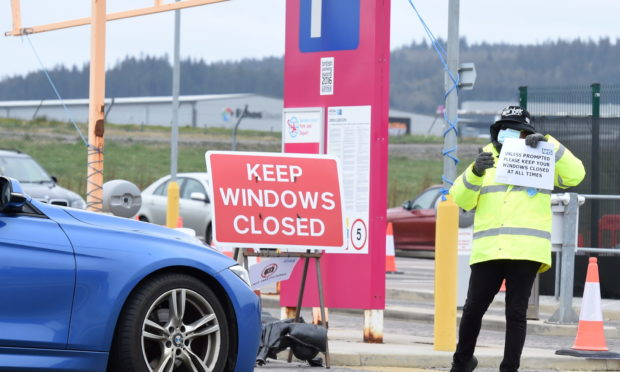 The NHS drive-through testing centre in Aberdeen. Picture by Paul Glendell
